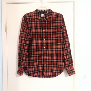 Aspesi 100% Cotton Red and Black Plaid Button Up